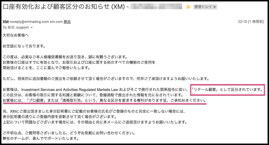 XM口座有効化完了通知メール