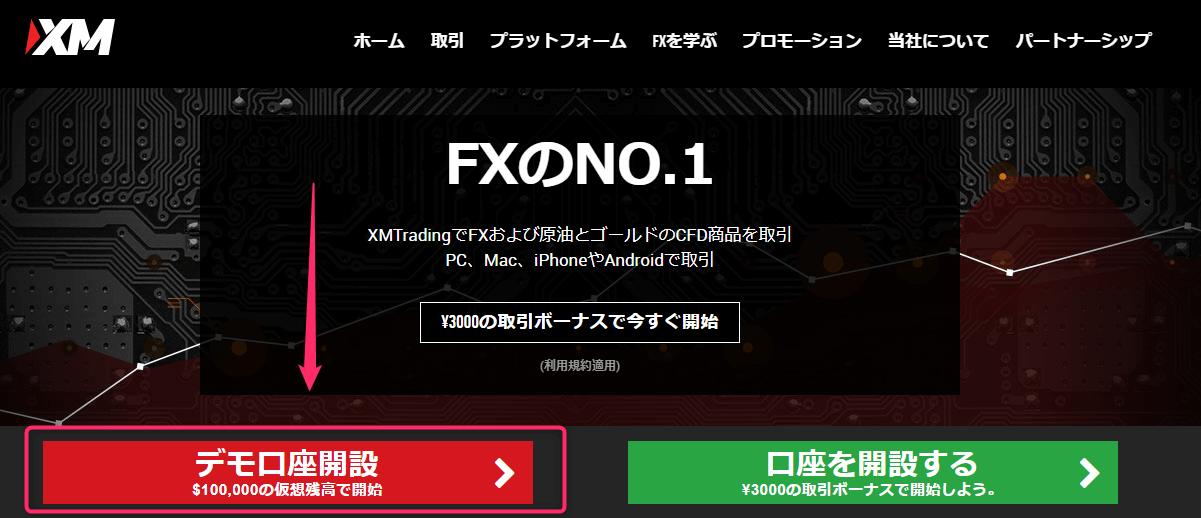 XM TOP デモ口座