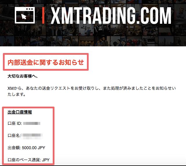 資金振替完了>受信メール